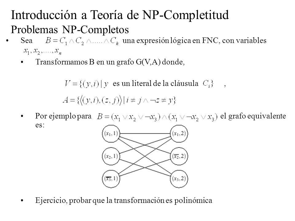 Introducción a Teoría de NP-Completitud Problemas NP-Completos Sea una expresión lógica en FNC, con variables Transformamos B en un grafo G(V,A) donde