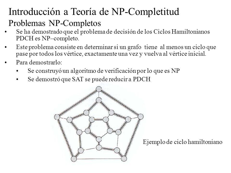 Introducción a Teoría de NP-Completitud Problemas NP-Completos Se ha demostrado que el problema de decisión de los Ciclos Hamiltonianos PDCH es NP–com