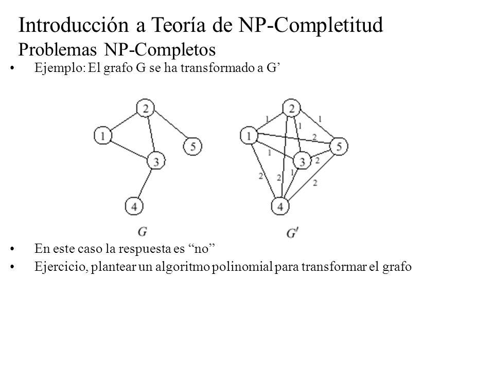 Introducción a Teoría de NP-Completitud Problemas NP-Completos Ejemplo: El grafo G se ha transformado a G En este caso la respuesta es no Ejercicio, p