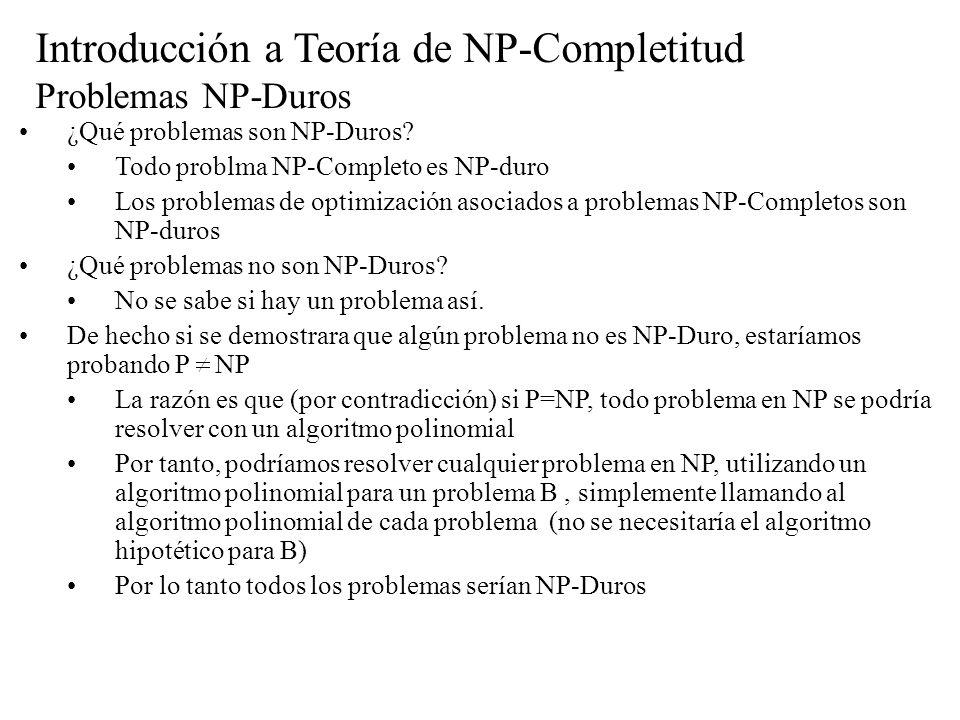 Introducción a Teoría de NP-Completitud Problemas NP-Duros ¿Qué problemas son NP-Duros? Todo problma NP-Completo es NP-duro Los problemas de optimizac