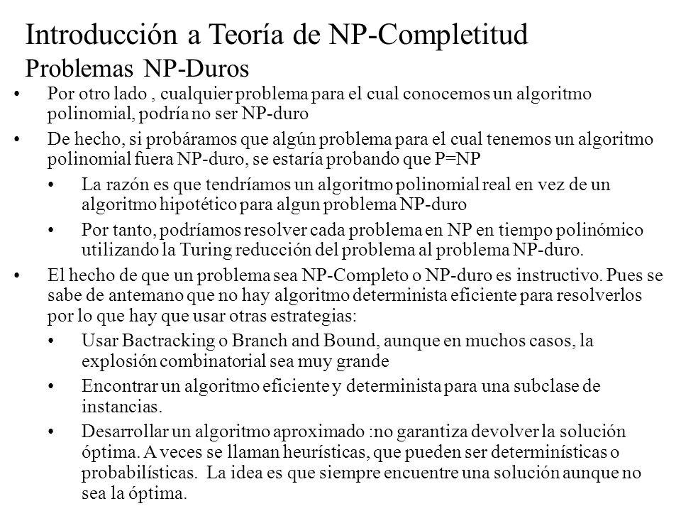 Introducción a Teoría de NP-Completitud Problemas NP-Duros Por otro lado, cualquier problema para el cual conocemos un algoritmo polinomial, podría no