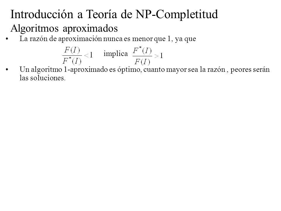Introducción a Teoría de NP-Completitud Algoritmos aproximados La razón de aproximación nunca es menor que 1, ya que Un algoritmo 1-aproximado es ópti