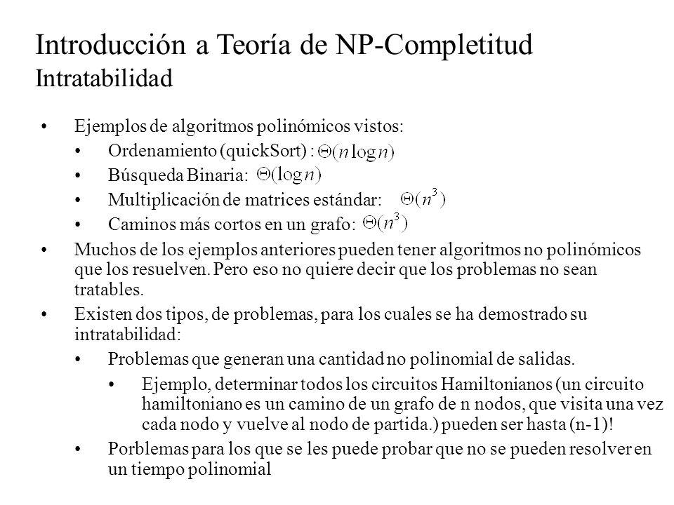 Introducción a Teoría de NP-Completitud Intratabilidad Ejemplos de algoritmos polinómicos vistos: Ordenamiento (quickSort) : Búsqueda Binaria: Multipl