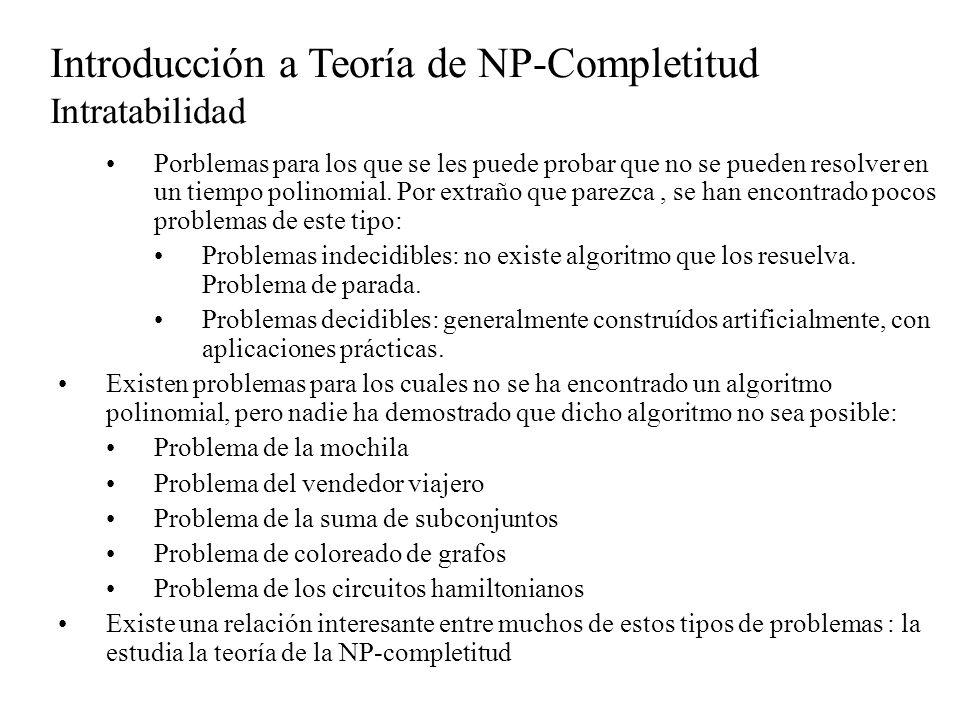 Introducción a Teoría de NP-Completitud Problemas NP-Duros Por otro lado, cualquier problema para el cual conocemos un algoritmo polinomial, podría no ser NP-duro De hecho, si probáramos que algún problema para el cual tenemos un algoritmo polinomial fuera NP-duro, se estaría probando que P=NP La razón es que tendríamos un algoritmo polinomial real en vez de un algoritmo hipotético para algun problema NP-duro Por tanto, podríamos resolver cada problema en NP en tiempo polinómico utilizando la Turing reducción del problema al problema NP-duro.