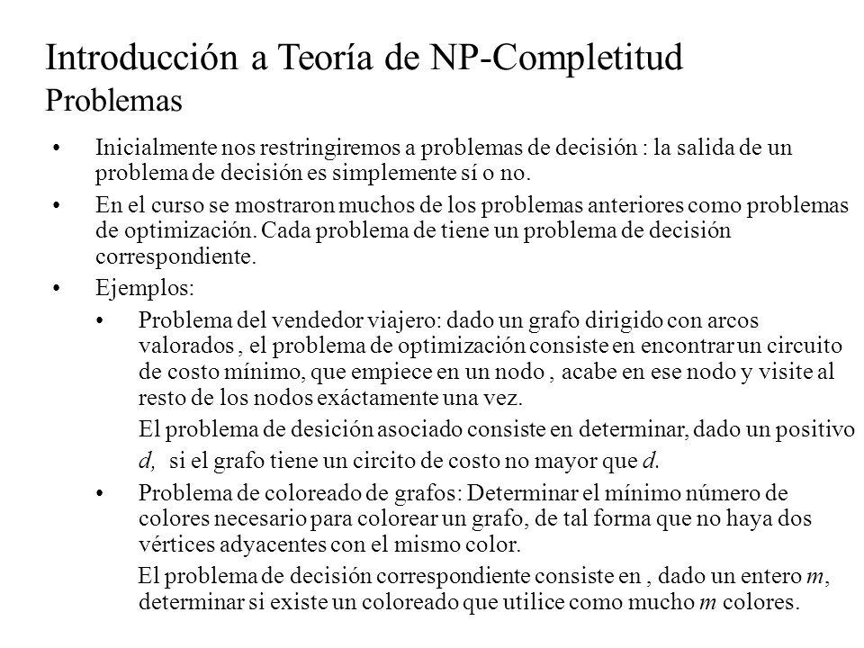 Introducción a Teoría de NP-Completitud Problemas NP-Completos Teorema 3: Un problema C es NP- completo si 1.Está en NP 2.Para algún problema NP-Completo B, Demostración Por ser B NP-Completo, para cualquier problema A en NP Como la reductibilidad es transitiva, entonces Puesto que C está en NP, satisface la definición de NP-Completo.