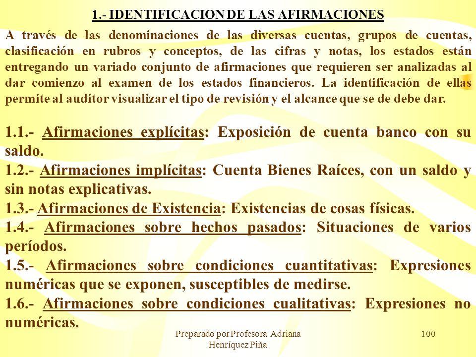 Preparado por Profesora Adriana Henríquez Piña 100 1.- IDENTIFICACION DE LAS AFIRMACIONES A través de las denominaciones de las diversas cuentas, grup