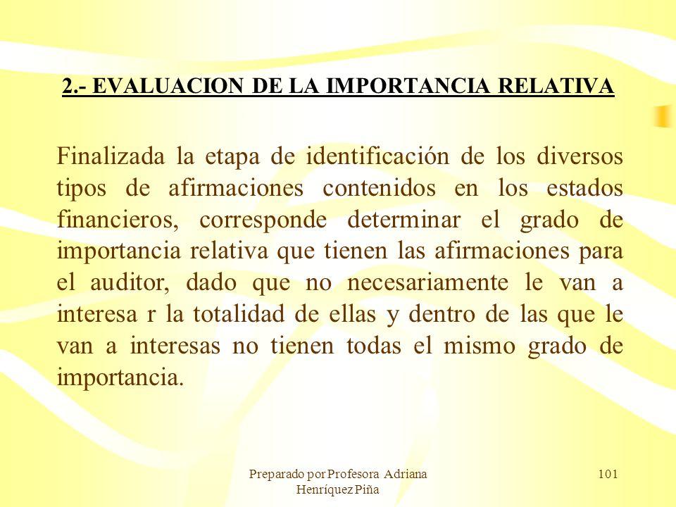 Preparado por Profesora Adriana Henríquez Piña 101 2.- EVALUACION DE LA IMPORTANCIA RELATIVA Finalizada la etapa de identificación de los diversos tip
