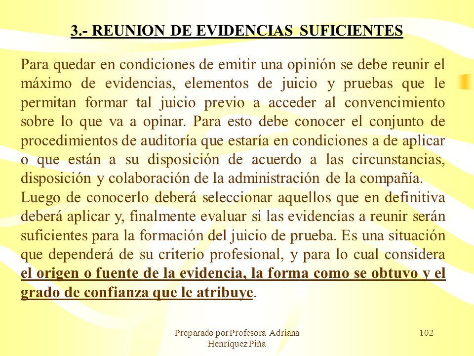 Preparado por Profesora Adriana Henríquez Piña 102 3.- REUNION DE EVIDENCIAS SUFICIENTES Para quedar en condiciones de emitir una opinión se debe reun