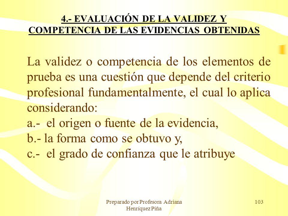 Preparado por Profesora Adriana Henríquez Piña 103 4.- EVALUACIÓN DE LA VALIDEZ Y COMPETENCIA DE LAS EVIDENCIAS OBTENIDAS La validez o competencia de