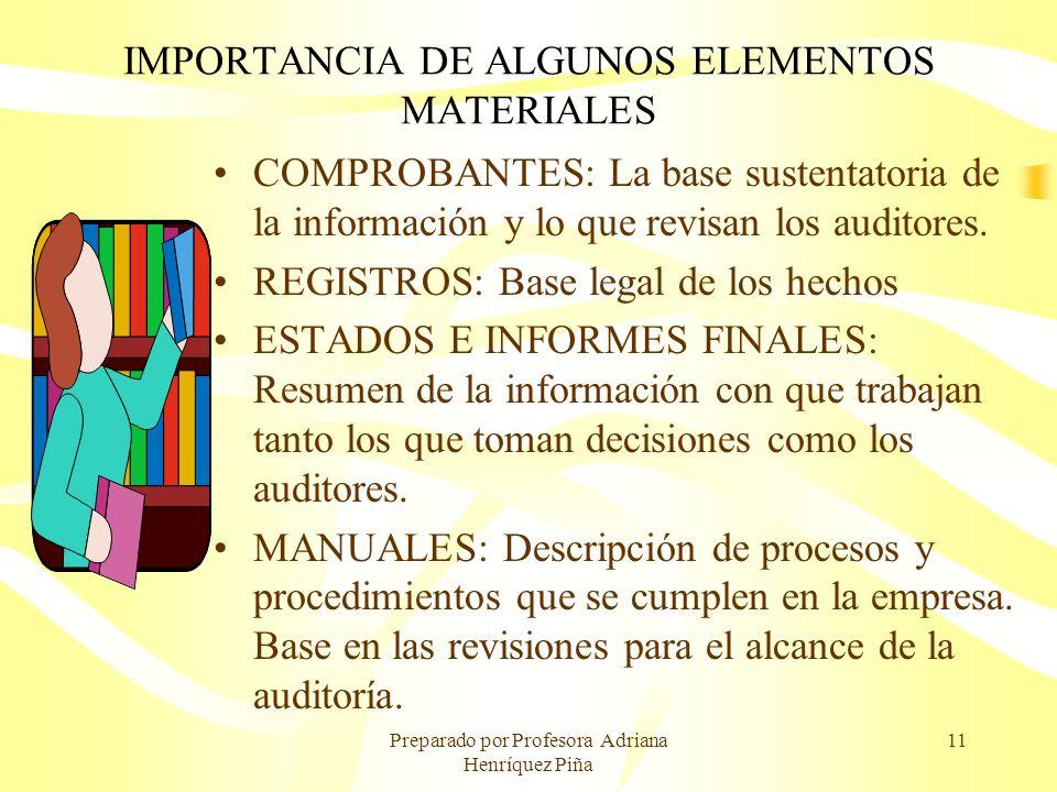 Preparado por Profesora Adriana Henríquez Piña 11 IMPORTANCIA DE ALGUNOS ELEMENTOS MATERIALES COMPROBANTES: La base sustentatoria de la información y