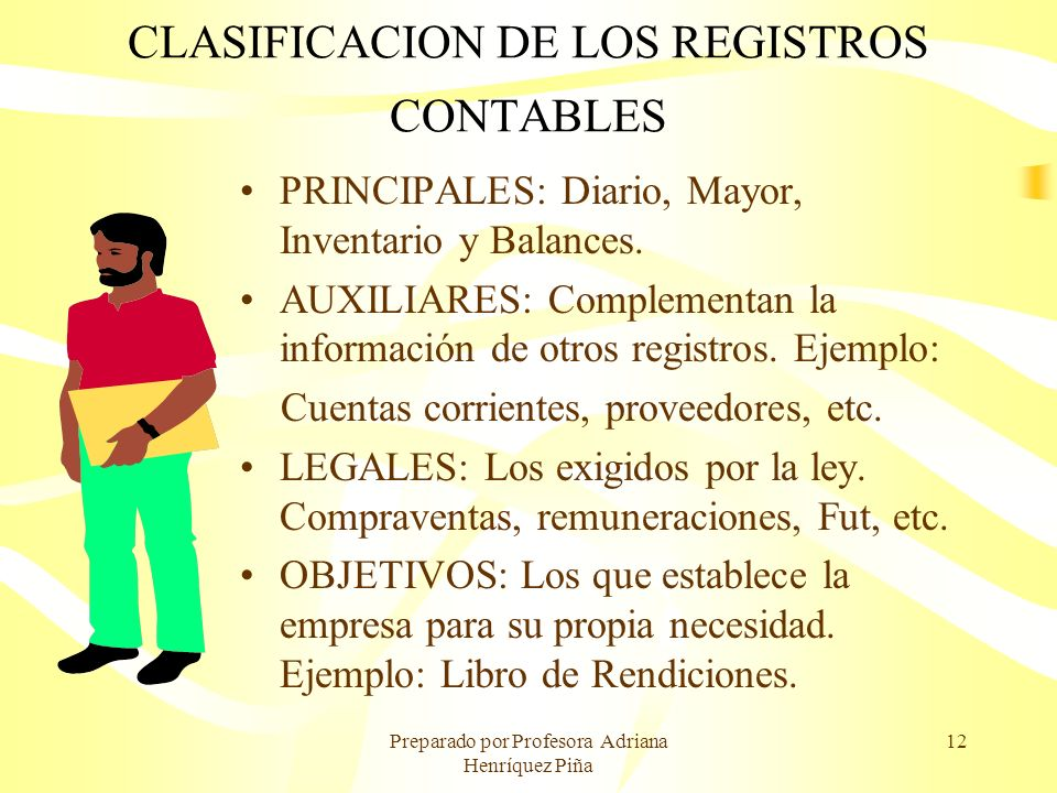 Preparado por Profesora Adriana Henríquez Piña 12 CLASIFICACION DE LOS REGISTROS CONTABLES PRINCIPALES: Diario, Mayor, Inventario y Balances. AUXILIAR