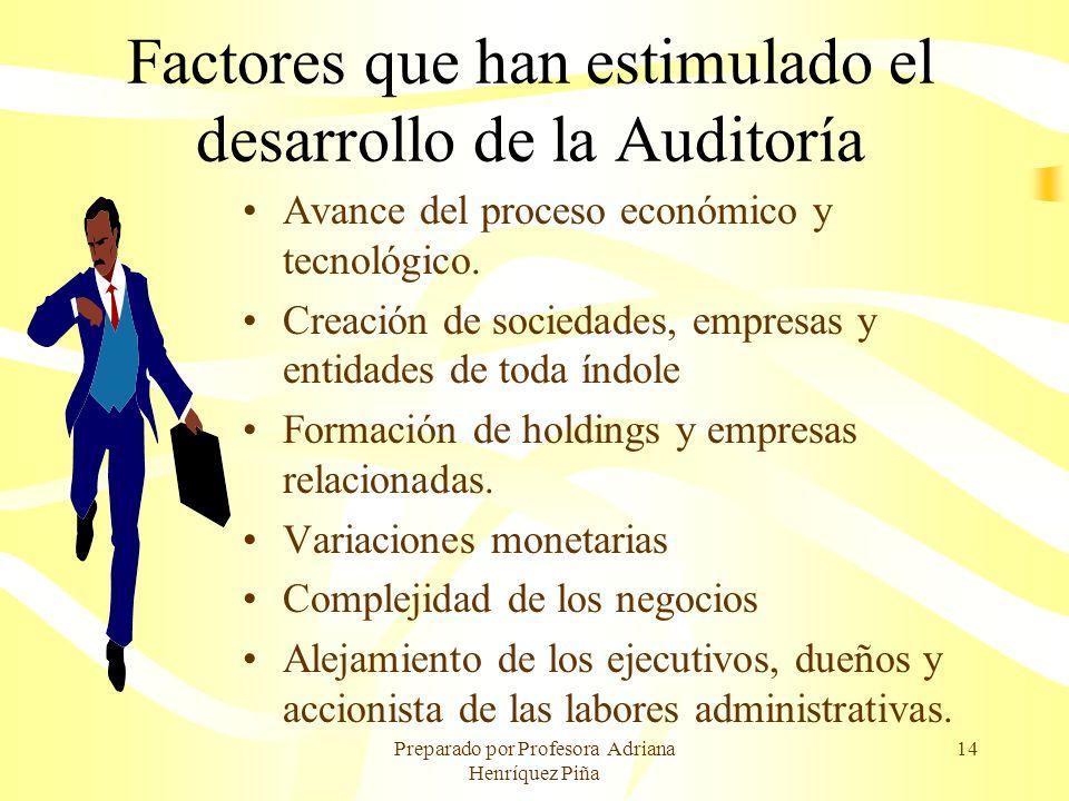 Preparado por Profesora Adriana Henríquez Piña 14 Factores que han estimulado el desarrollo de la Auditoría Avance del proceso económico y tecnológico