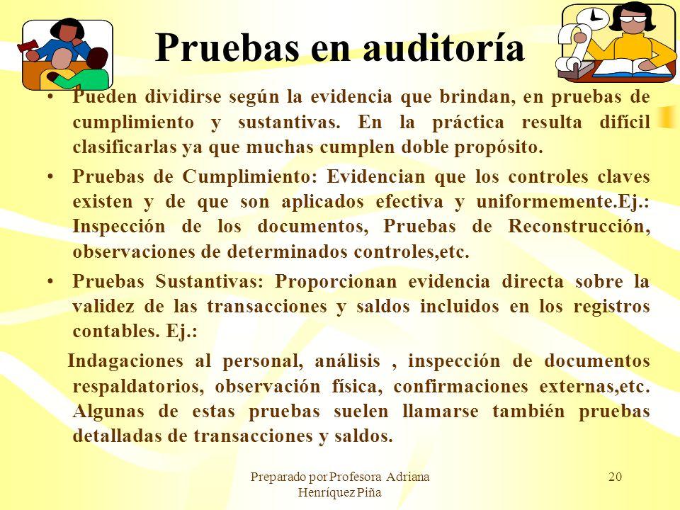 Preparado por Profesora Adriana Henríquez Piña 20 Pruebas en auditoría Pueden dividirse según la evidencia que brindan, en pruebas de cumplimiento y s