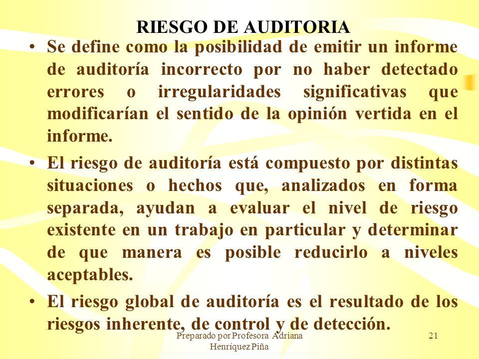 Preparado por Profesora Adriana Henríquez Piña 21 RIESGO DE AUDITORIA Se define como la posibilidad de emitir un informe de auditoría incorrecto por n