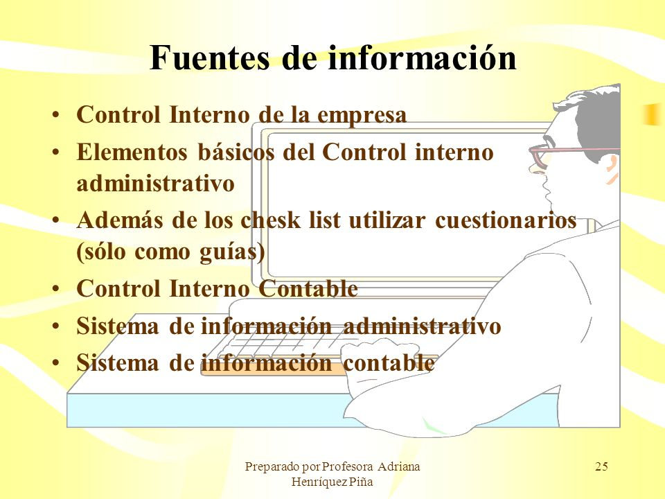 Preparado por Profesora Adriana Henríquez Piña 25 Fuentes de información Control Interno de la empresa Elementos básicos del Control interno administr