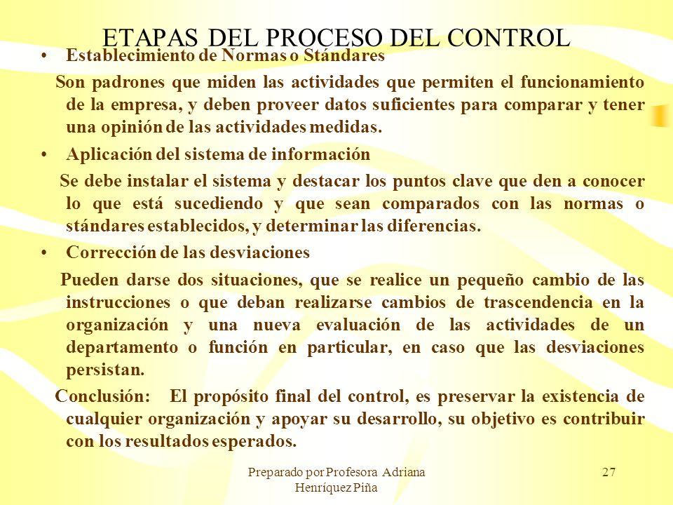 Preparado por Profesora Adriana Henríquez Piña 27 ETAPAS DEL PROCESO DEL CONTROL Establecimiento de Normas o Stándares Son padrones que miden las acti