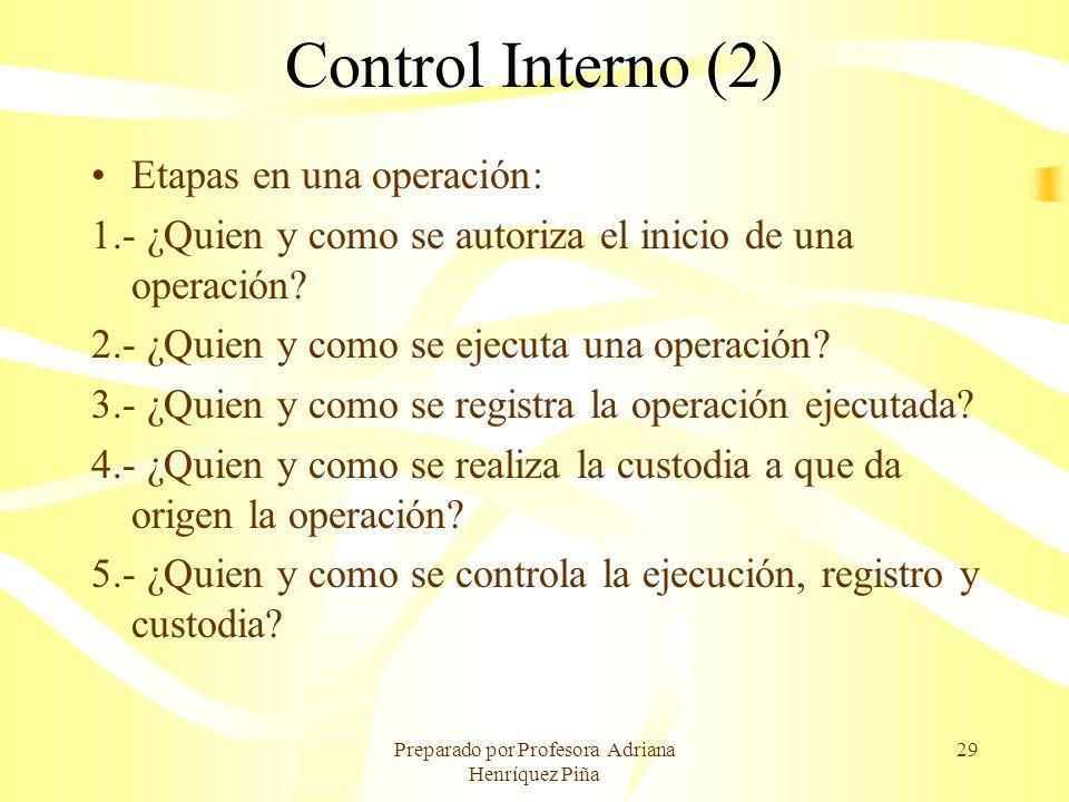 Preparado por Profesora Adriana Henríquez Piña 29 Control Interno (2) Etapas en una operación: 1.- ¿Quien y como se autoriza el inicio de una operació