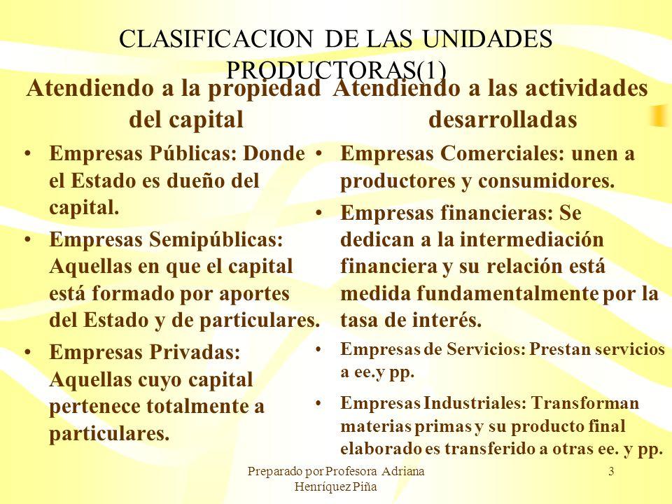 Preparado por Profesora Adriana Henríquez Piña 3 CLASIFICACION DE LAS UNIDADES PRODUCTORAS(1) Atendiendo a la propiedad del capital Empresas Públicas: