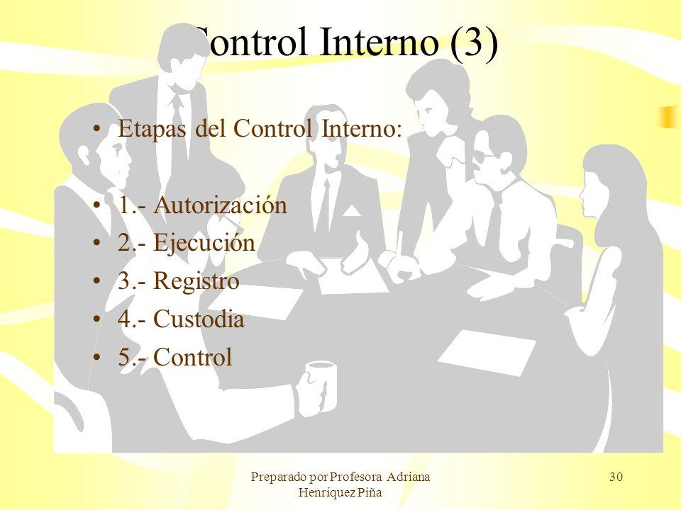 Preparado por Profesora Adriana Henríquez Piña 30 Control Interno (3) Etapas del Control Interno: 1.- Autorización 2.- Ejecución 3.- Registro 4.- Cust