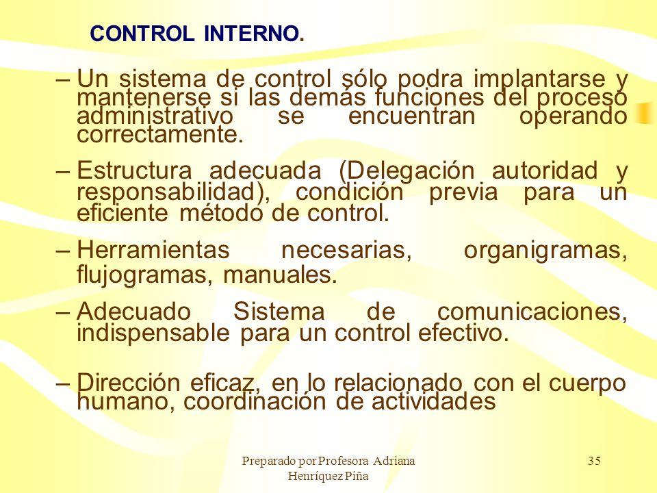 Preparado por Profesora Adriana Henríquez Piña 35 CONTROL INTERNO. –Un sistema de control sólo podra implantarse y mantenerse si las demás funciones d