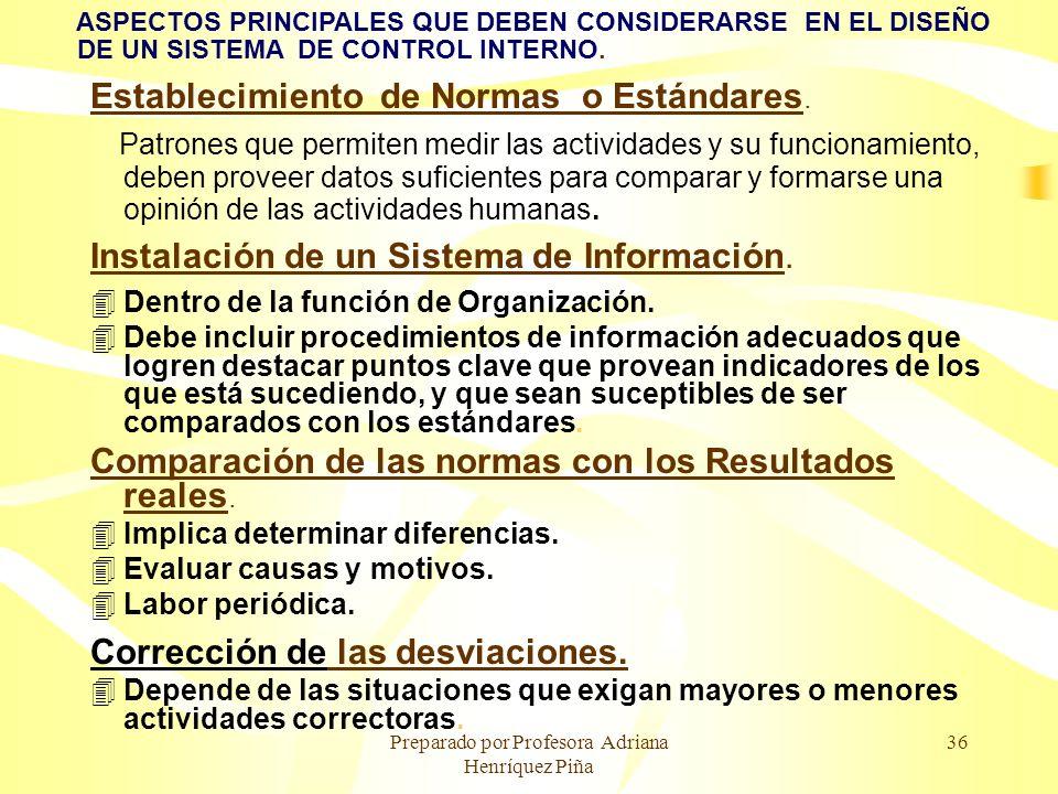 Preparado por Profesora Adriana Henríquez Piña 36 ASPECTOS PRINCIPALES QUE DEBEN CONSIDERARSE EN EL DISEÑO DE UN SISTEMA DE CONTROL INTERNO. Estableci