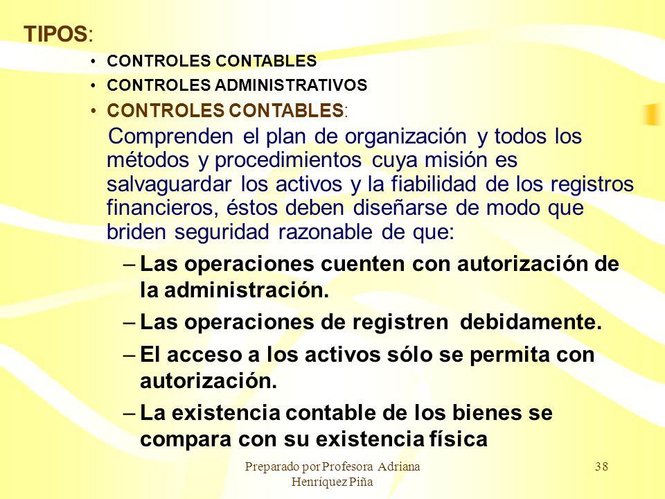 Preparado por Profesora Adriana Henríquez Piña 38 TIPOS: CONTROLES CONTABLES CONTROLES ADMINISTRATIVOS CONTROLES CONTABLES: Comprenden el plan de orga