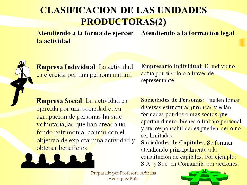 Preparado por Profesora Adriana Henríquez Piña 4 CLASIFICACION DE LAS UNIDADES PRODUCTORAS(2)