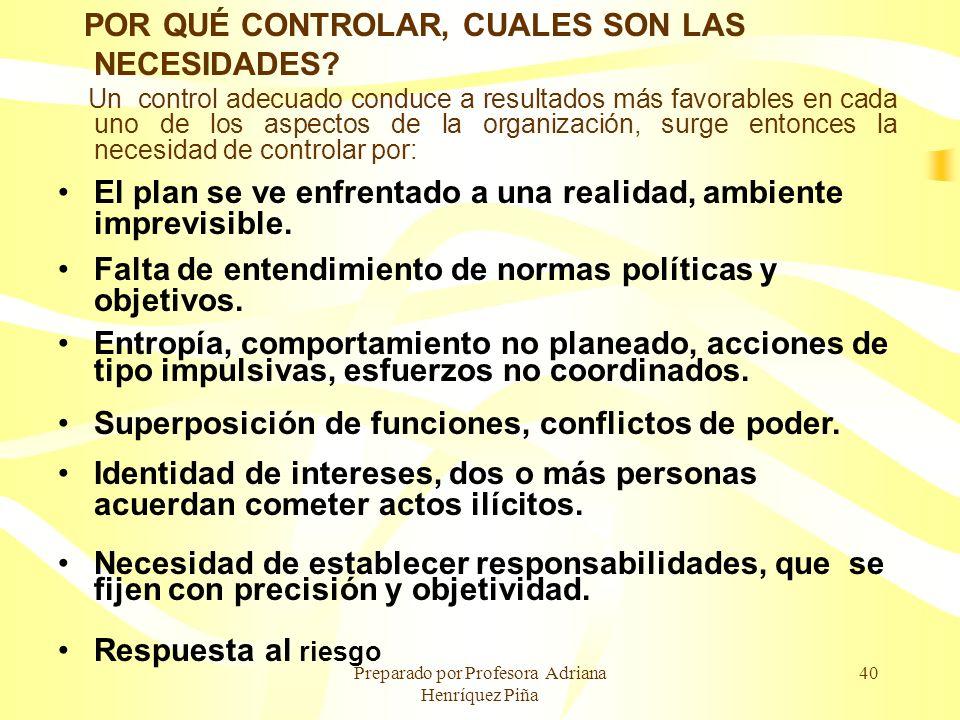 Preparado por Profesora Adriana Henríquez Piña 40 POR QUÉ CONTROLAR, CUALES SON LAS NECESIDADES? Un control adecuado conduce a resultados más favorabl