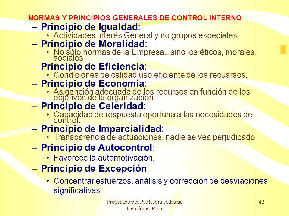 Preparado por Profesora Adriana Henríquez Piña 42 NORMAS Y PRINCIPIOS GENERALES DE CONTROL INTERNO –Principio de Igualdad: Actividades Interés General