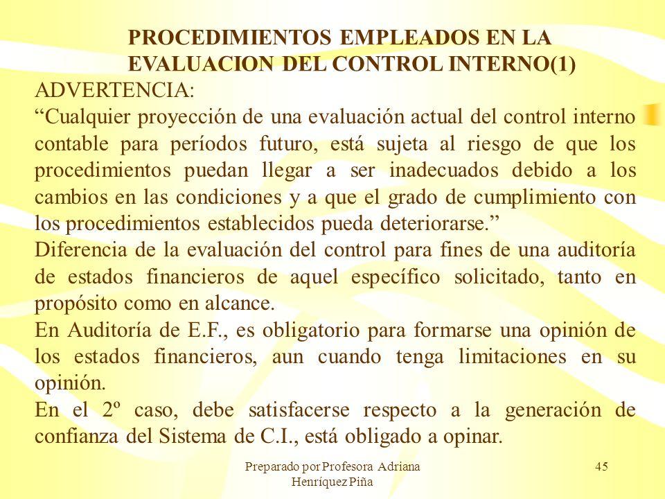 Preparado por Profesora Adriana Henríquez Piña 45 PROCEDIMIENTOS EMPLEADOS EN LA EVALUACION DEL CONTROL INTERNO(1) ADVERTENCIA: Cualquier proyección d