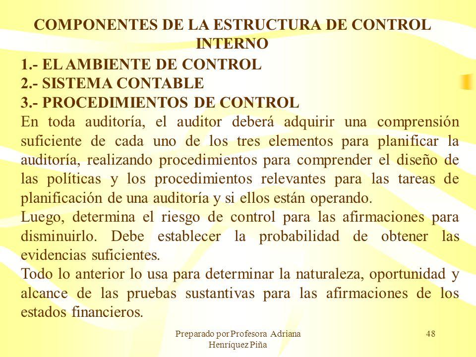 Preparado por Profesora Adriana Henríquez Piña 48 COMPONENTES DE LA ESTRUCTURA DE CONTROL INTERNO 1.- EL AMBIENTE DE CONTROL 2.- SISTEMA CONTABLE 3.-