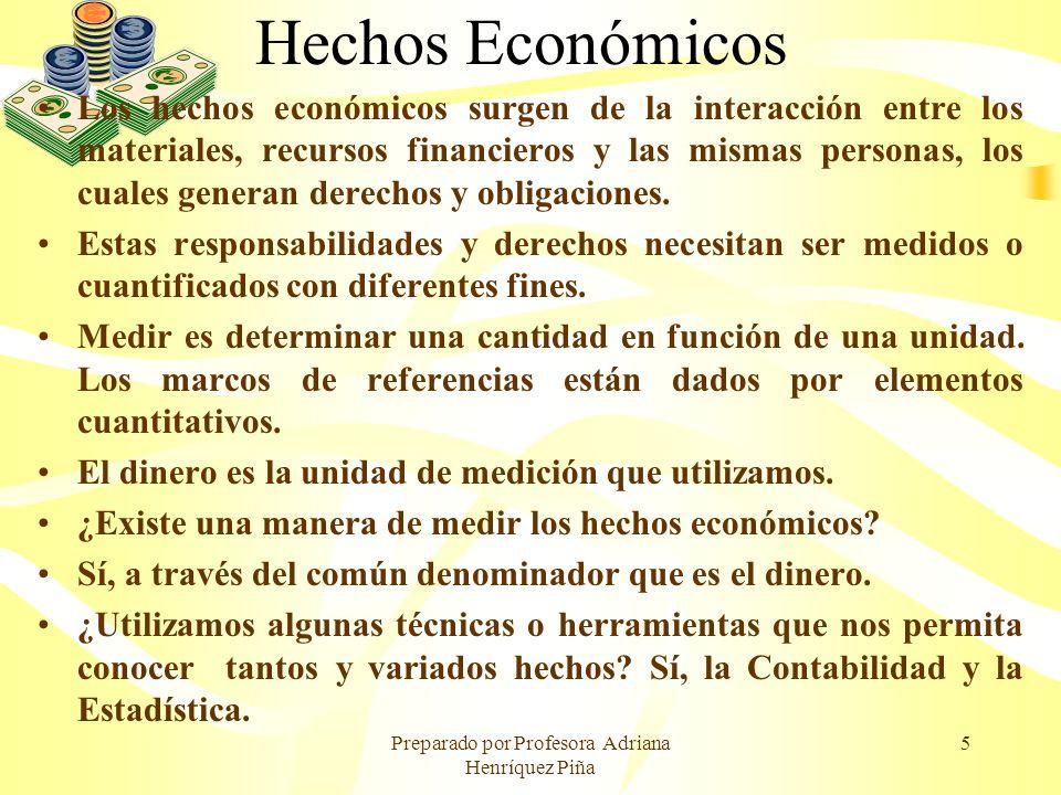 Preparado por Profesora Adriana Henríquez Piña 5 Hechos Económicos Los hechos económicos surgen de la interacción entre los materiales, recursos finan