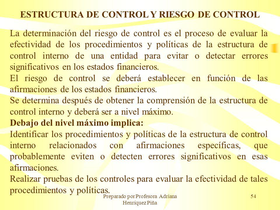 Preparado por Profesora Adriana Henríquez Piña 54 ESTRUCTURA DE CONTROL Y RIESGO DE CONTROL La determinación del riesgo de control es el proceso de ev