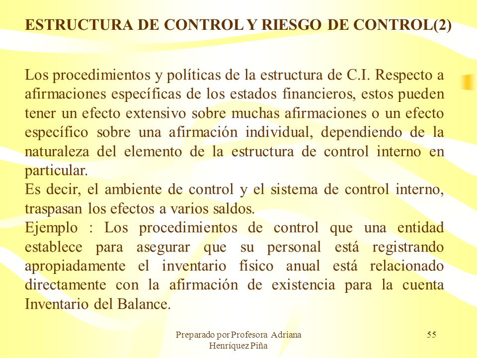 Preparado por Profesora Adriana Henríquez Piña 55 ESTRUCTURA DE CONTROL Y RIESGO DE CONTROL(2) Los procedimientos y políticas de la estructura de C.I.
