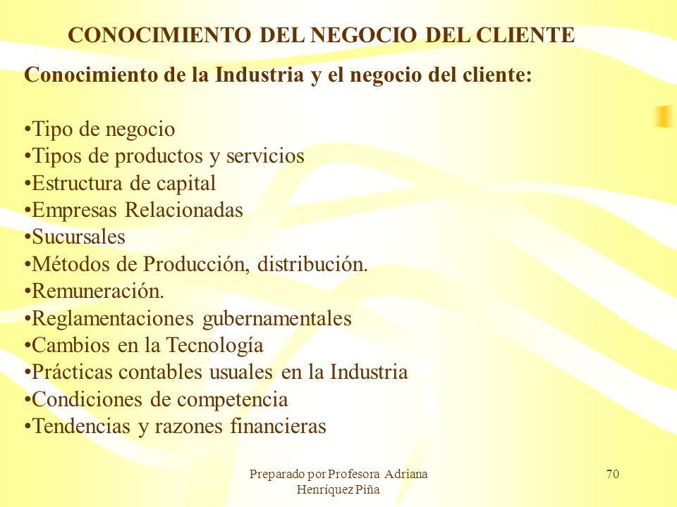 Preparado por Profesora Adriana Henríquez Piña 70 CONOCIMIENTO DEL NEGOCIO DEL CLIENTE Conocimiento de la Industria y el negocio del cliente: Tipo de