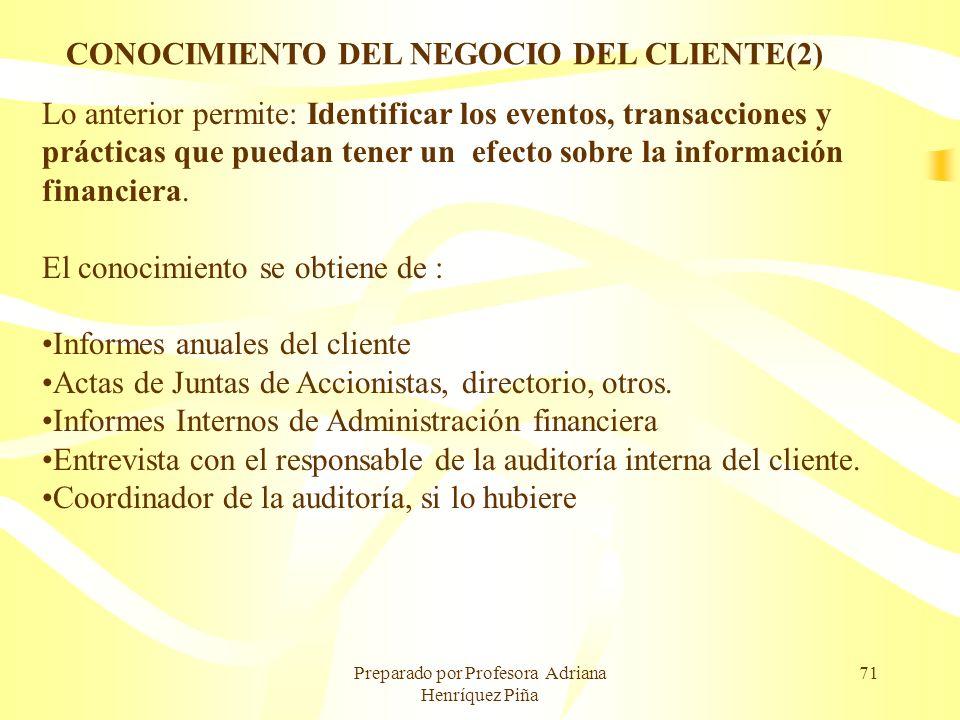 Preparado por Profesora Adriana Henríquez Piña 71 Lo anterior permite: Identificar los eventos, transacciones y prácticas que puedan tener un efecto s