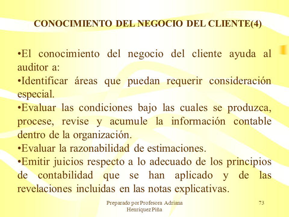 Preparado por Profesora Adriana Henríquez Piña 73 CONOCIMIENTO DEL NEGOCIO DEL CLIENTE(4) El conocimiento del negocio del cliente ayuda al auditor a: