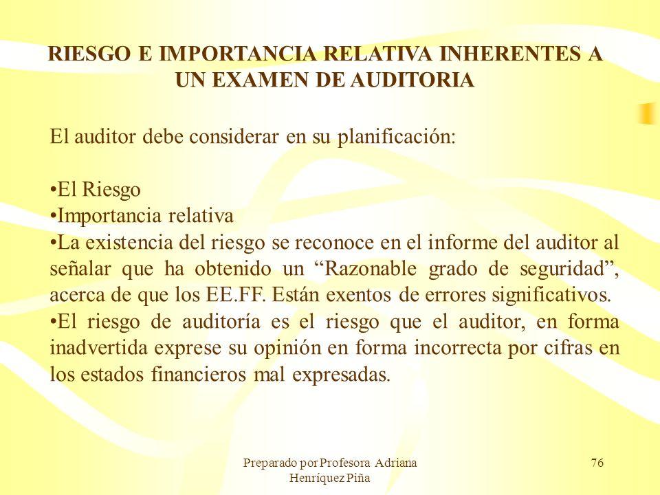Preparado por Profesora Adriana Henríquez Piña 76 RIESGO E IMPORTANCIA RELATIVA INHERENTES A UN EXAMEN DE AUDITORIA El auditor debe considerar en su p