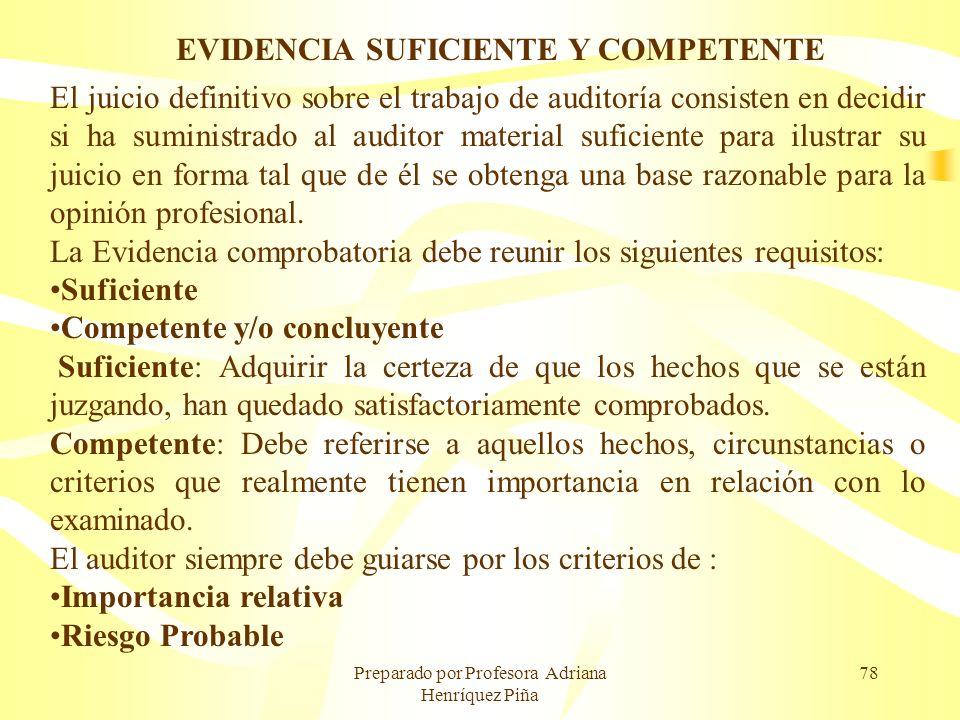 Preparado por Profesora Adriana Henríquez Piña 78 EVIDENCIA SUFICIENTE Y COMPETENTE El juicio definitivo sobre el trabajo de auditoría consisten en de