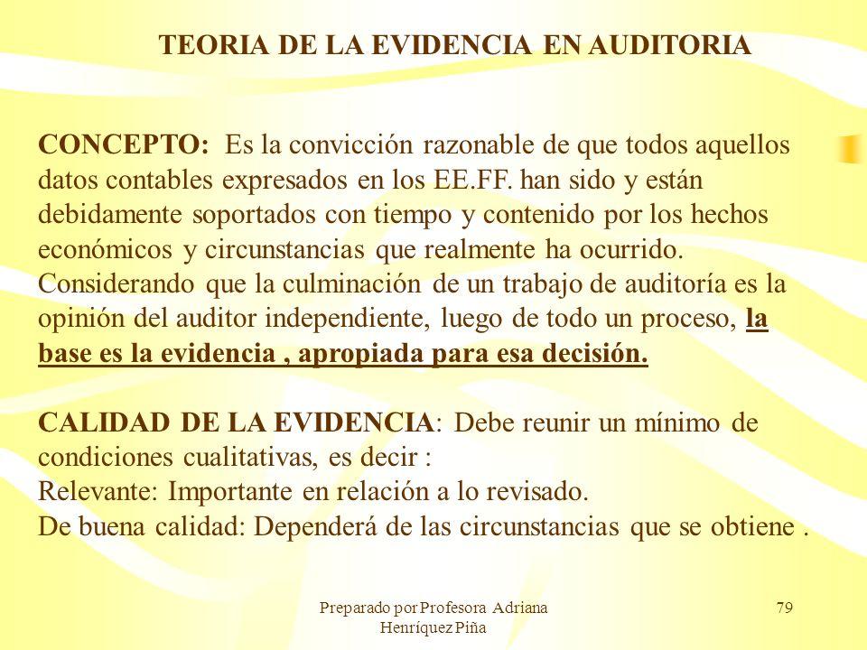 Preparado por Profesora Adriana Henríquez Piña 79 TEORIA DE LA EVIDENCIA EN AUDITORIA CONCEPTO: Es la convicción razonable de que todos aquellos datos