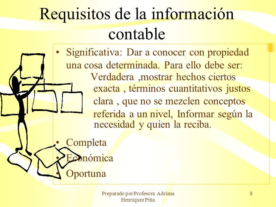 Preparado por Profesora Adriana Henríquez Piña 8 Requisitos de la información contable Significativa: Dar a conocer con propiedad una cosa determinada
