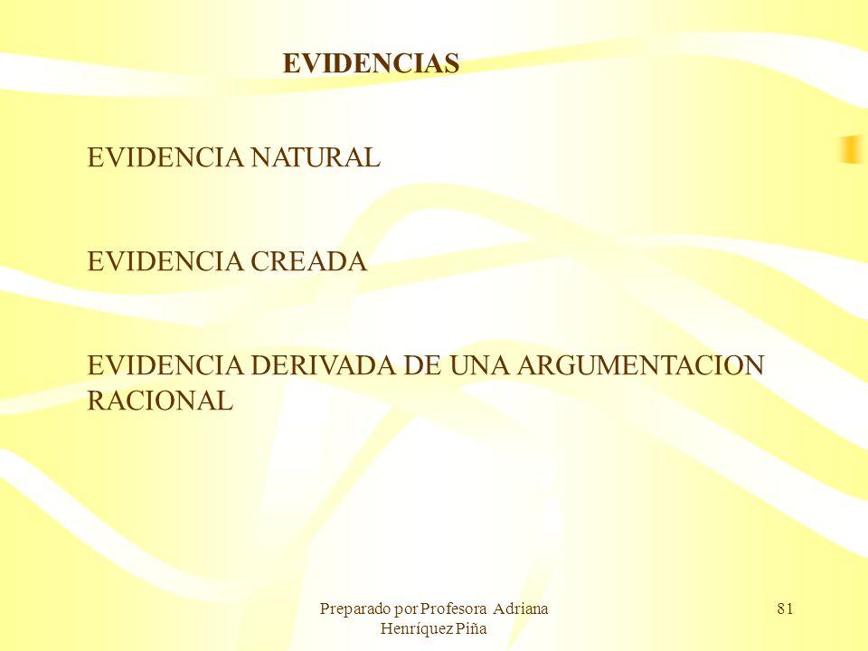 Preparado por Profesora Adriana Henríquez Piña 81 EVIDENCIAS EVIDENCIA NATURAL EVIDENCIA CREADA EVIDENCIA DERIVADA DE UNA ARGUMENTACION RACIONAL