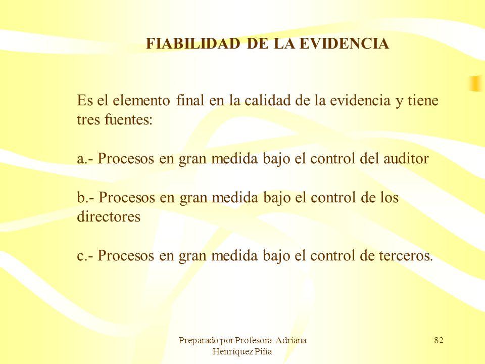 Preparado por Profesora Adriana Henríquez Piña 82 FIABILIDAD DE LA EVIDENCIA Es el elemento final en la calidad de la evidencia y tiene tres fuentes: