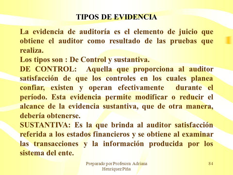 Preparado por Profesora Adriana Henríquez Piña 84 TIPOS DE EVIDENCIA La evidencia de auditoría es el elemento de juicio que obtiene el auditor como re
