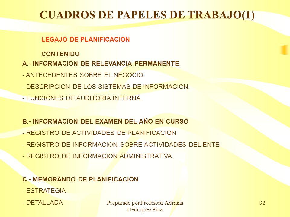 Preparado por Profesora Adriana Henríquez Piña 92 LEGAJO DE PLANIFICACION CONTENIDO A.- INFORMACION DE RELEVANCIA PERMANENTE. - ANTECEDENTES SOBRE EL