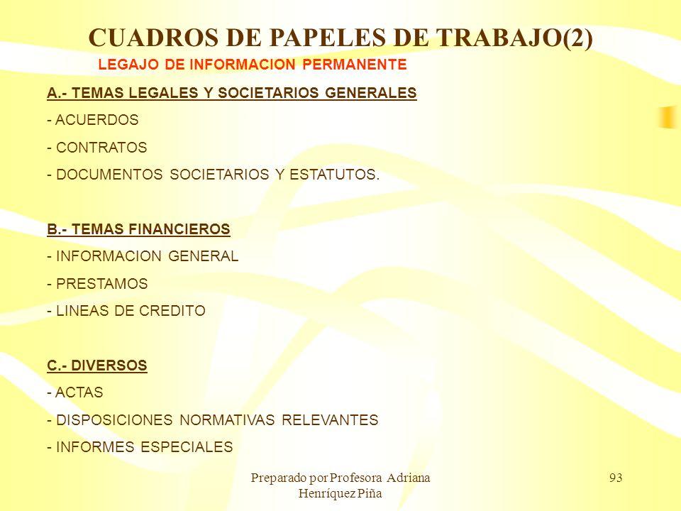 Preparado por Profesora Adriana Henríquez Piña 93 LEGAJO DE INFORMACION PERMANENTE A.- TEMAS LEGALES Y SOCIETARIOS GENERALES - ACUERDOS - CONTRATOS -