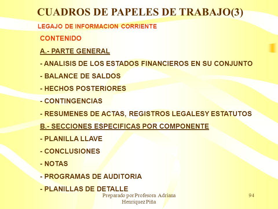 Preparado por Profesora Adriana Henríquez Piña 94 LEGAJO DE INFORMACION CORRIENTE CONTENIDO A.- PARTE GENERAL - ANALISIS DE LOS ESTADOS FINANCIEROS EN