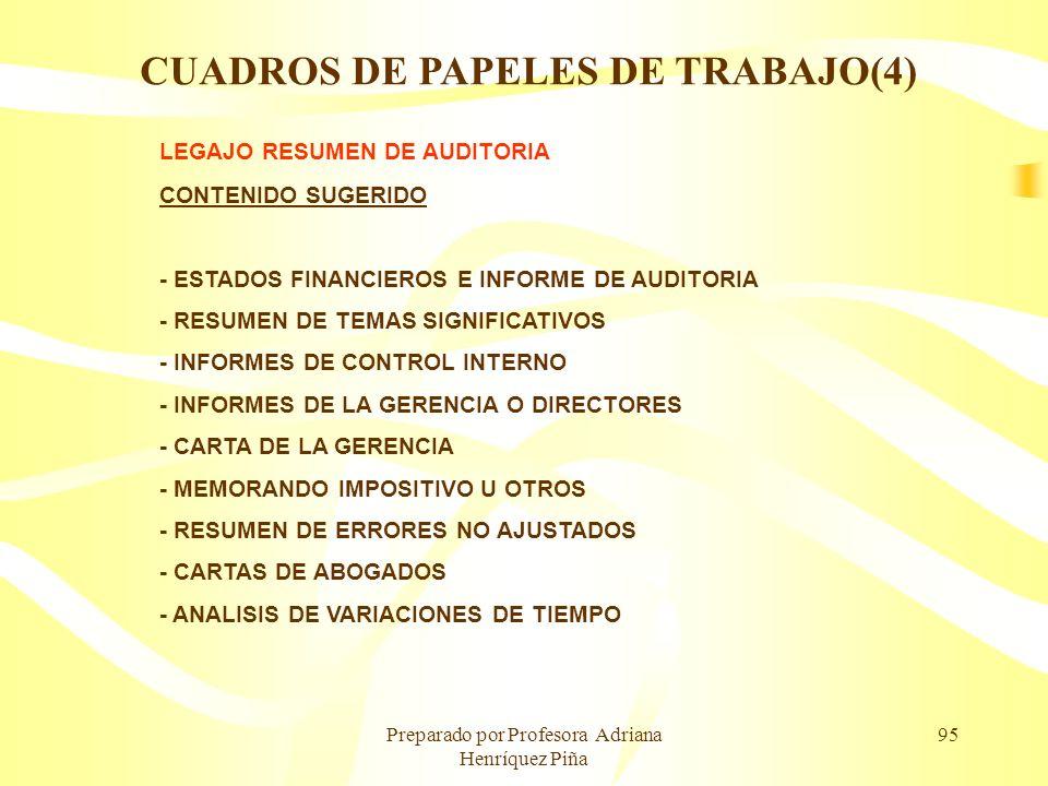 Preparado por Profesora Adriana Henríquez Piña 95 LEGAJO RESUMEN DE AUDITORIA CONTENIDO SUGERIDO - ESTADOS FINANCIEROS E INFORME DE AUDITORIA - RESUME