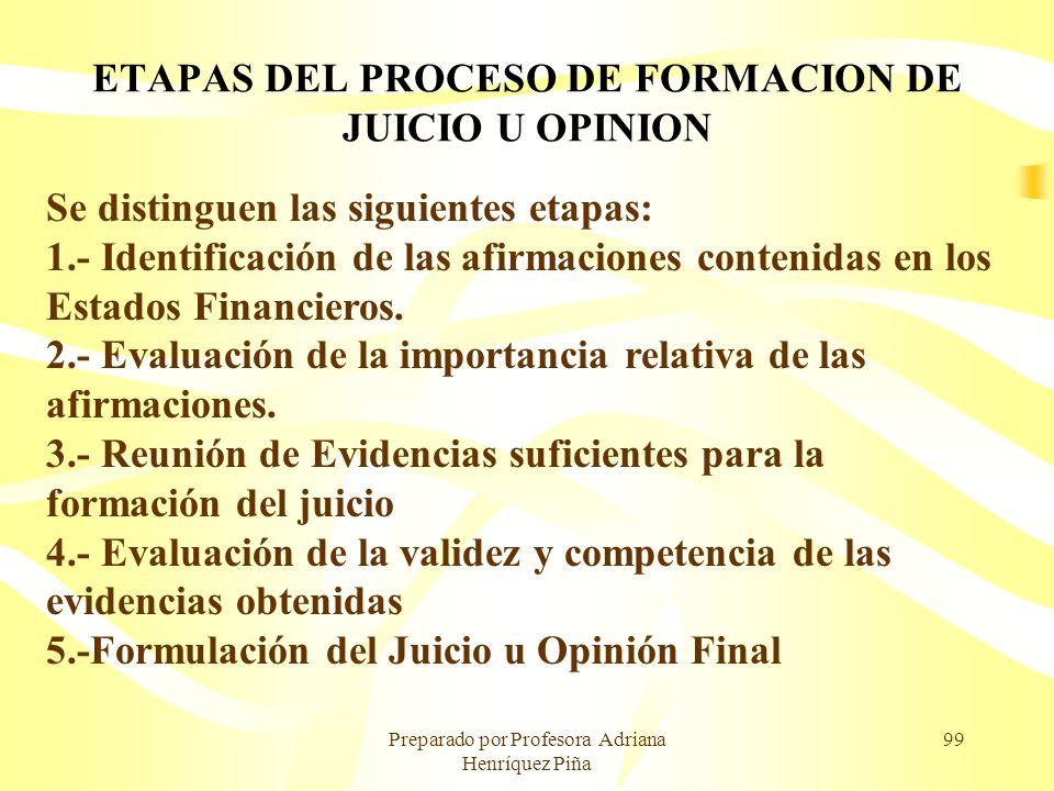 Preparado por Profesora Adriana Henríquez Piña 99 ETAPAS DEL PROCESO DE FORMACION DE JUICIO U OPINION Se distinguen las siguientes etapas: 1.- Identif