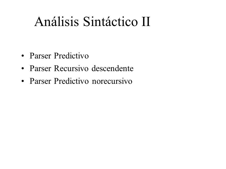 Análisis Sintáctico II Parser Predictivo Parser Recursivo descendente Parser Predictivo norecursivo